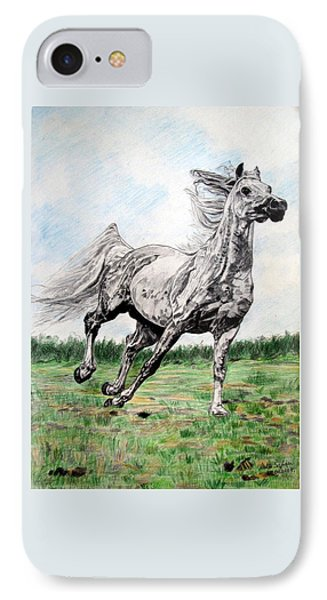 IPhone Case featuring the drawing Galloping Arab Horse by Melita Safran