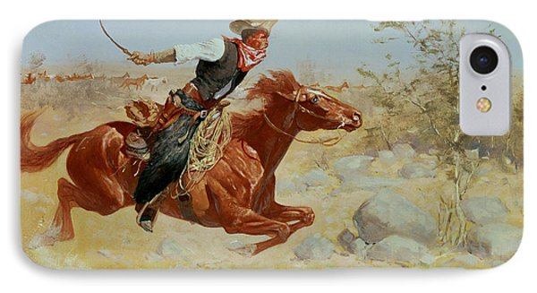Horse iPhone 7 Case - Galloping Horseman by Frederic Remington