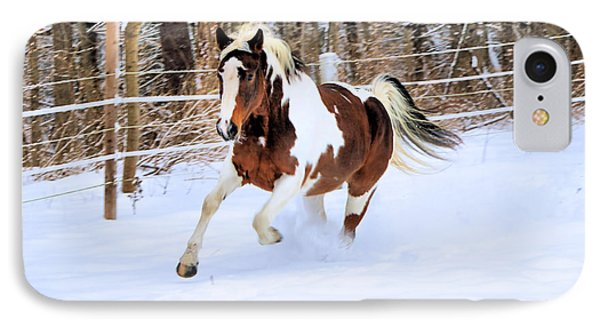 Galloping In The Snow IPhone Case by Elizabeth Dow