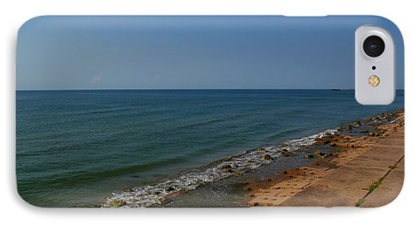 IPhone Case featuring the photograph Galveston Beach At The Seawall by Tikvah's Hope