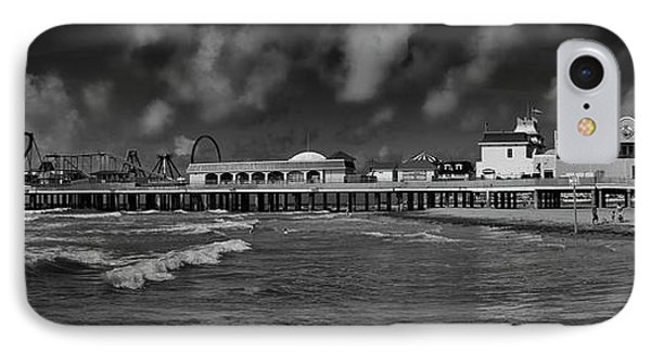 IPhone Case featuring the photograph Galveston Pleasure Pier Black And White by Joshua House