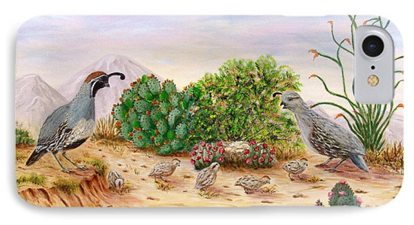 IPhone Case featuring the painting Gambel Quails Day In The Life by Judy Filarecki
