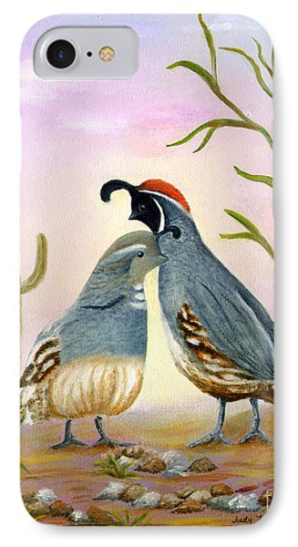 IPhone Case featuring the painting Gambel Quails Friends Forever by Judy Filarecki