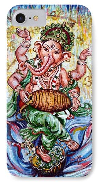 Ganesha Dancing And Playing Mridang IPhone Case by Harsh Malik