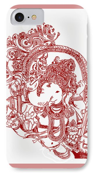 Ganesha Line Drawing IPhone Case by Suhas Tavkar