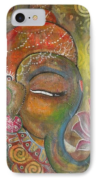 IPhone Case featuring the painting Ganesha With A Pink Lotus by Prerna Poojara