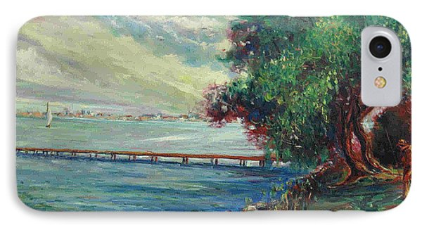 IPhone Case featuring the painting Garda Lake -lago Garda by Walter Casaravilla