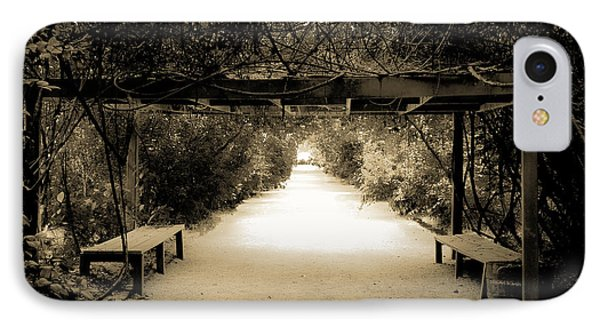 Garden Arbor In Sepia IPhone Case by DigiArt Diaries by Vicky B Fuller