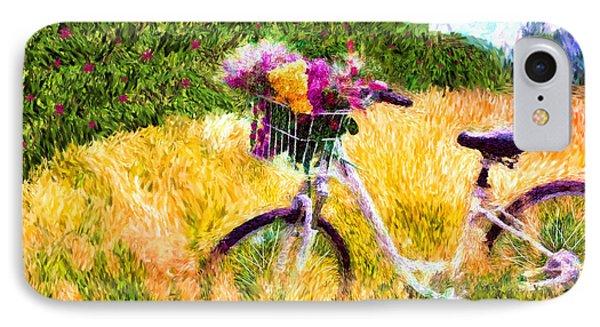 Garden Bicycle Print IPhone Case by Tina LeCour