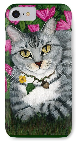 IPhone Case featuring the painting Garden Cat - Silver Tabby Cat Azaleas by Carrie Hawks