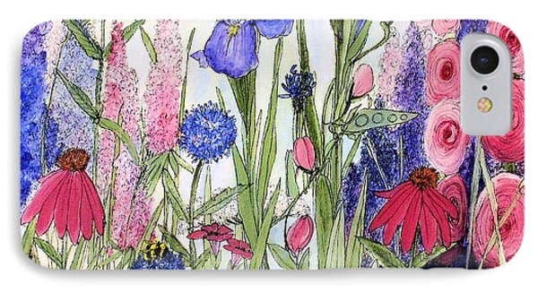 IPhone Case featuring the painting Garden Cottage Iris And Hollyhock by Laurie Rohner
