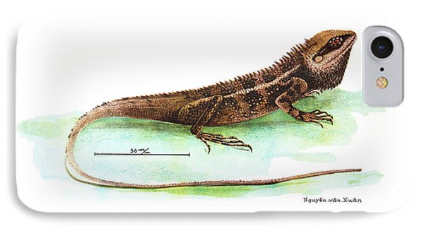 IPhone Case featuring the drawing Garden Lizard by Nguyen van Xuan