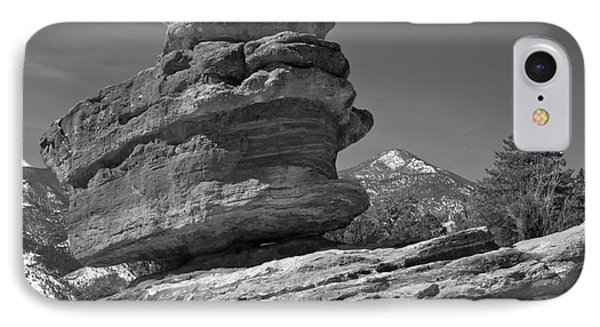 IPhone Case featuring the photograph Garden Of The Gods Balanced Rock Black And White by Adam Jewell