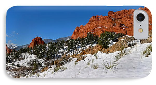 IPhone Case featuring the photograph Garden Of The Gods Snowy Blue Sky Panorama by Adam Jewell