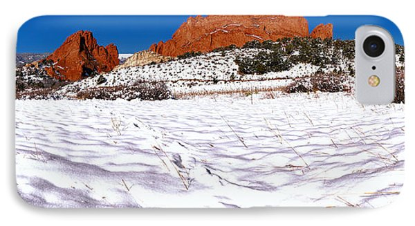IPhone Case featuring the photograph Garden Of The Gods Snowy Morning Panorama Crop by Adam Jewell