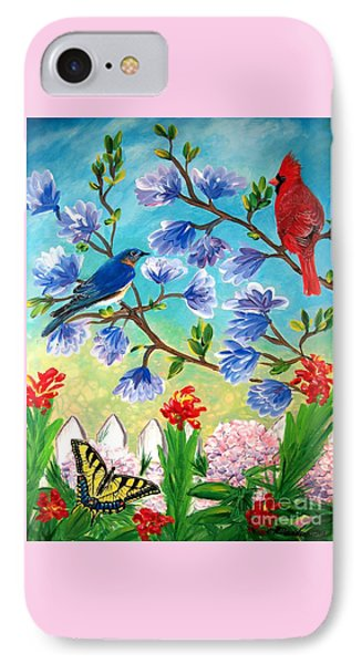 Garden View Birds And Butterfly IPhone Case by Patricia L Davidson