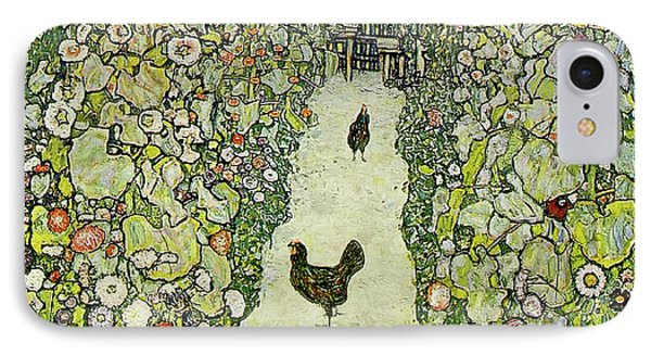 Garden With Chickens IPhone Case by Gustav Klimt