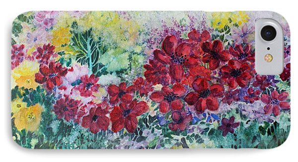 IPhone Case featuring the painting Garden With Reds by Joanne Smoley