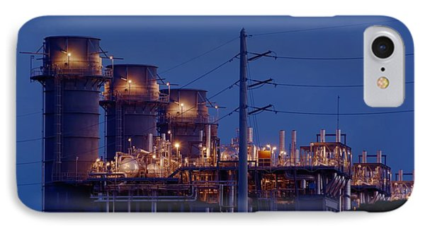 IPhone Case featuring the photograph Gas Power Plant At Night by Bradford Martin