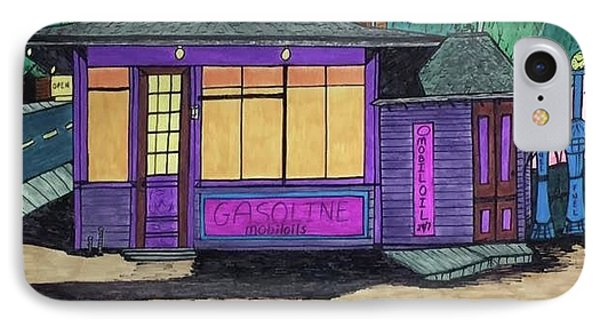 IPhone Case featuring the drawing Gasoline Alley Mobil Oil. Historic Menominee Art. by Jonathon Hansen