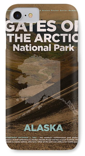 Gates Of The Arctic National Park In Alaska Travel Poster Series Of National Parks Number 20 IPhone Case by Design Turnpike