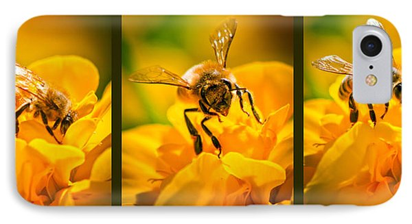 Gathering Pollen Triptych Phone Case by Bob Orsillo