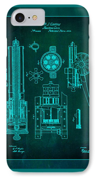 Gatlin Machine Gun Drawing 1e IPhone Case