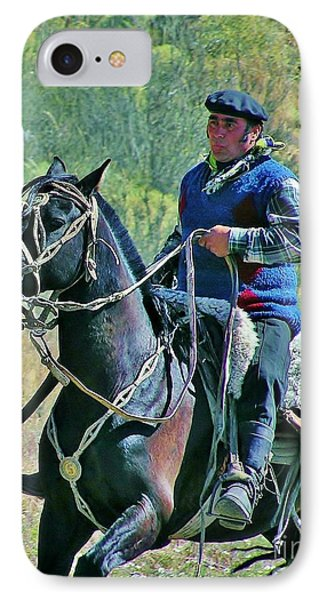 IPhone Case featuring the photograph Gaucho On Horse by Michele Penner