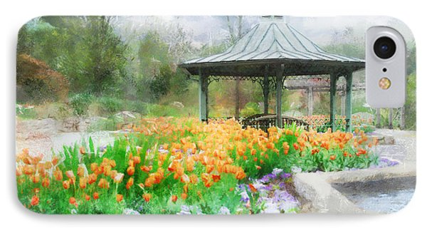 IPhone Case featuring the digital art Gazebo With Tulips by Francesa Miller