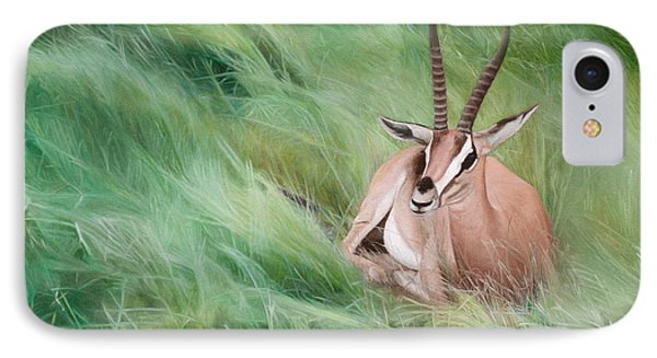 IPhone Case featuring the painting Gazelle In The Grass by Joshua Martin