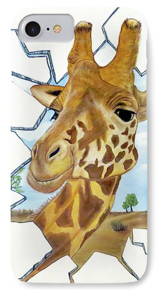IPhone Case featuring the painting Gazing Giraffe by Teresa Wing