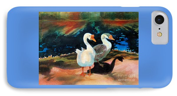 Geese At Riverside IPhone Case by Kathy Braud