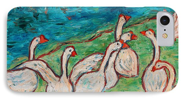 IPhone Case featuring the painting Geese By The Pond by Xueling Zou