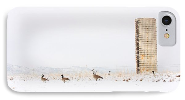 Geese In The Snow With Silo Phone Case by James BO  Insogna