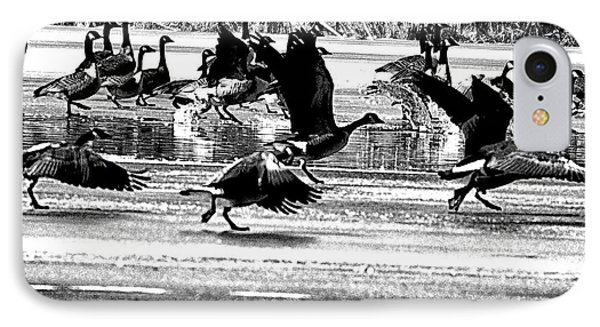 Geese On Ice Taking Flight Phone Case by Bill Cannon