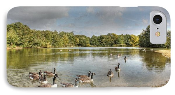Geese On The Lake Hdr IPhone Case