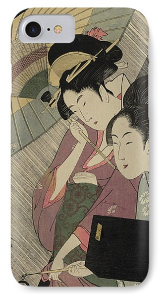 Geisha And Attendant On A Rainy Night IPhone Case by Kitagawa Utamaro