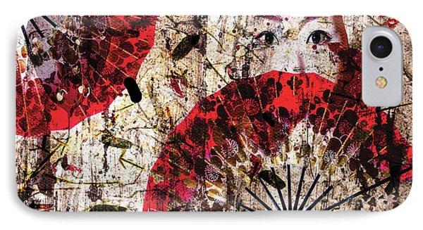 Geisha Grunge IPhone Case by Paula Ayers