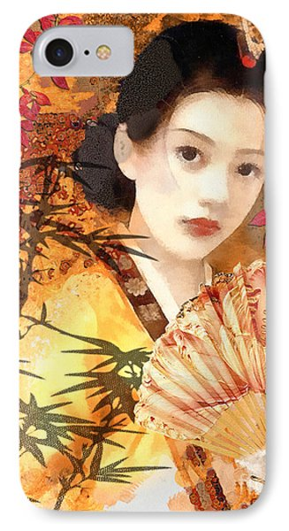 Geisha With Fan IPhone Case by Mo T