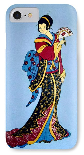 IPhone Case featuring the painting Geisha With Fan by Stephanie Moore