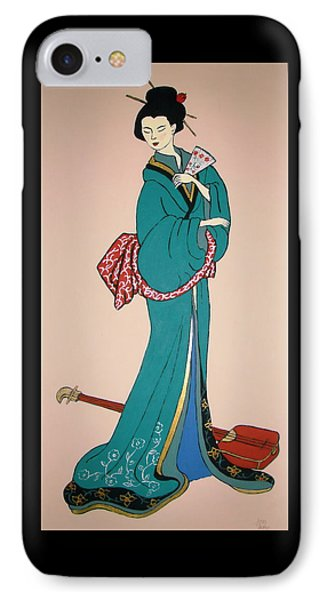 IPhone Case featuring the painting Geisha With Guitar by Stephanie Moore