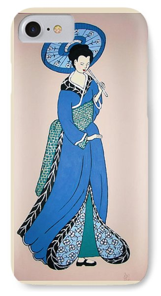 IPhone Case featuring the painting Geisha With Parasol by Stephanie Moore