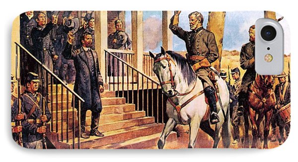 General Lee And His Horse 'traveller' Surrenders To General Grant By Mcconnell Phone Case by James Edwin