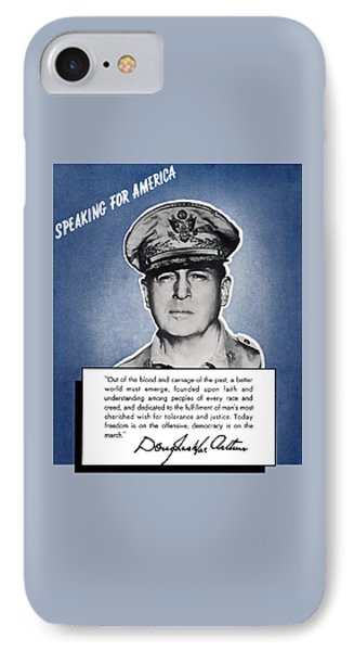 General Macarthur Speaking For America Phone Case by War Is Hell Store