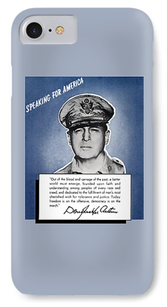 General Macarthur Speaking For America IPhone Case by War Is Hell Store
