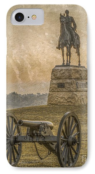 General Meade Statue And Cannon Gettysburg IPhone Case by Randy Steele