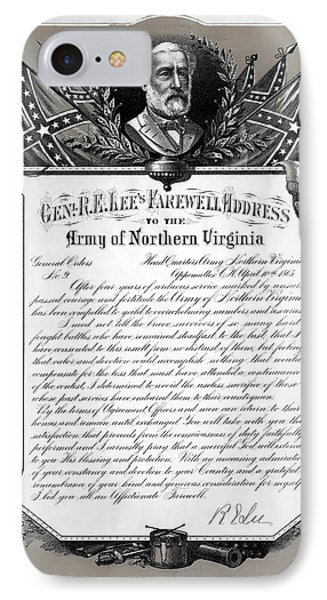 IPhone Case featuring the mixed media General Robert E. Lee's Farewell Address To Confederate Soldiers by Daniel Hagerman
