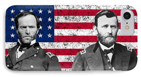 Generals Sherman And Grant  IPhone Case by War Is Hell Store