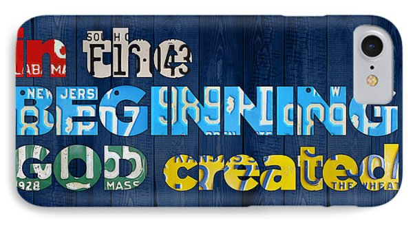 Genesis 1 1 In The Beginning God Created Bible Verse Recycled Vintage License Plate Art IPhone Case by Design Turnpike