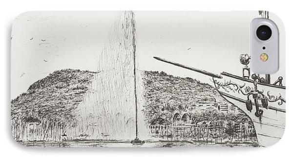 Geneva  Fountain And Bow Of Pleasure Boat IPhone Case